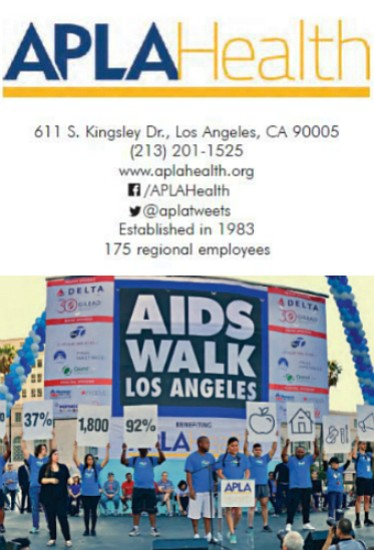 Staff of APLA Health at AIDS Walk in Downtown Los Angeles hold up signs to show the impact the organization's services and programs has in the community.