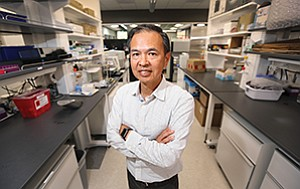 Explora Biolabs CEO Richard Lin at the company's Sorrento Valley headquarters. The company has five labs in San Diego and two in San Francisco for preclinical testing on mice and rats. Typically biotechs taking their drug before the FDA must first show how their treatment works in animals.