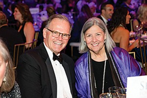 University of San Diego President, Jim Harris, left, and philanthropist Darlene Shiley at the Jenny Craig Pavilion where a record-setting scholarship fund was raised for USD scholars and students who are veterans. Photo courtesy of the University of San Diego