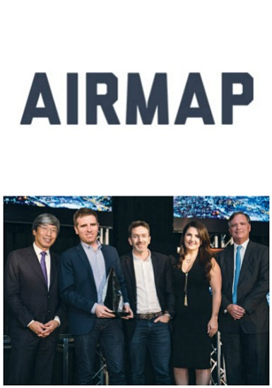 Dr. Patrick Soon-Shiong (NantWorks), Honorees Ben Marcus and Daniel Rubio (AirMap), Anna Magzanyan (Los Angeles Business Journal), and Eric A. Gray (Merrill Lynch)