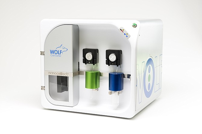 NanoCellect's WOLF Cell Sorter. The company's cell sorting and analysis technology has wide-ranging applications, including antibody discovery, cell line development, and CRISPR genomic editing. Photo courtesy of NanoCellect.