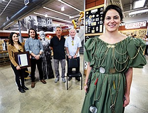 Some of San Diego Hardware's ownership, left to right, Hannah Fleming, Bryan Haynsworth, Bill Haynsworth, Don Haynsworth and model, Kelly Zive, depicting Fanny Sherman-Sloan from the 1890s.