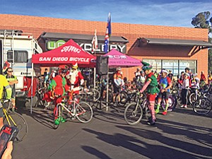 More than 200 cyclists gathered at the UC Cyclery for a 45-mile ride to participate in its 30th annual SDBC Annual Light Up a Life Holiday Toy Ride. Photo courtesy of San Diego Bike Club
