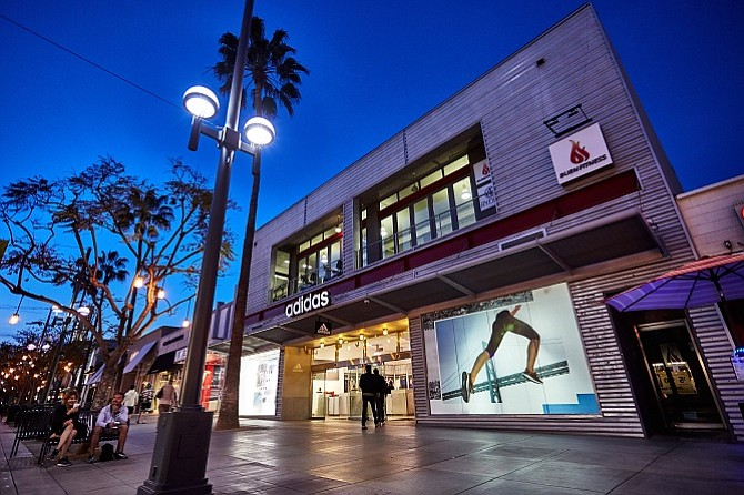 The Adidas and Burn Fitness building at 1231-1233 Third Street Promenade in Santa Monica