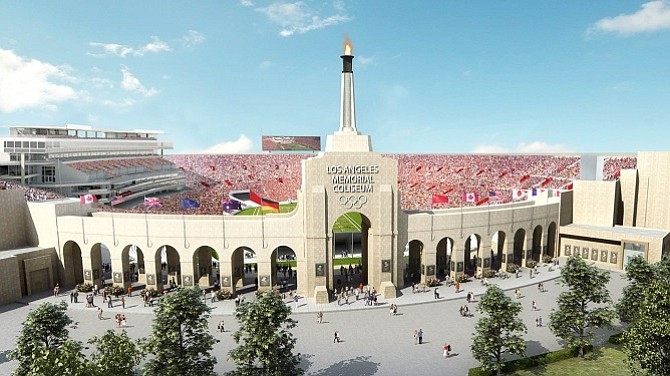 Rendering of the Julia and George Argyros Plaza at the soon-to-be-renovated Los Angeles Coliseum (courtesy of USC)