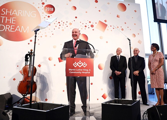 Steve Ballmer was on hand to announce a $15M gift by the Weingart Foundation and Ballmer's charity, the Ballmer Group, which will be used to help fill a doctor shortage in South Los Angeles.