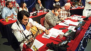 An Elvis impersonator and many other prominent San Diegans worked the phones during Feeding San Diego's fifth annual Month of a Million Meals to raise food for San Diego families struggling with hunger. Photo courtesy of Feeding San Diego