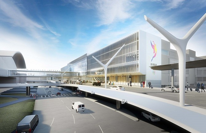 Rendering of Austin Commercial Inc.'s planned extensions to the terminals at Los Angeles International Airport, which will connect to a planned people mover.