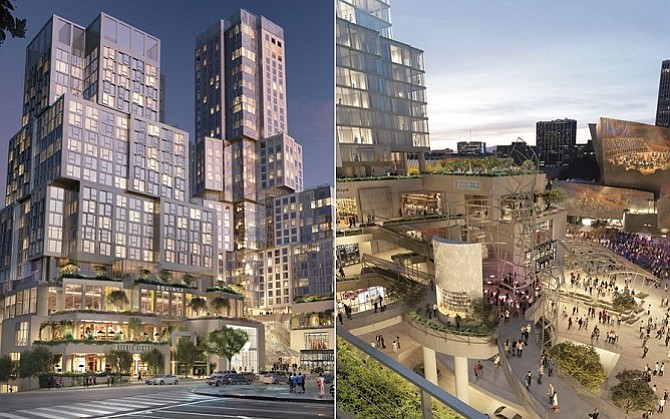 Rendering of The Grand, the Related Co.'s downtown Los Angeles mixed-use development designed by Frank Gehry​