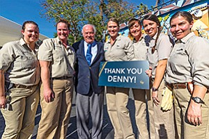 Philanthropist T. Denny Sanford, center, is surrounded by San Diego Zoo employees during an announcement of the largest single donation to the Zoo. Photo courtesy of San Diego Zoo