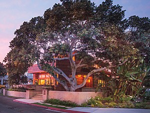 The front elevation of a home with a giant fig tree at 160 27th St. in the Beach t in Del Mar. Photos courtesy of P.S. Platinum Properties