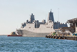 Fresh from the shipbuilder's yard, the future Navy ship Portland arrives in its new homeport of San Diego on Jan. 22. A brand new ship requires more than one visit to the shipyard to get in shape to fight. The Navy will commission the Portland in its namesake Oregon city in April.