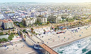 Construction is scheduled to begin by summer on a 160-room hotel, shown across the street from the Oceanside beachfront amphitheatre, and a 226-room hotel to the south. Photo courtesy of S.D. Malkin Properties.