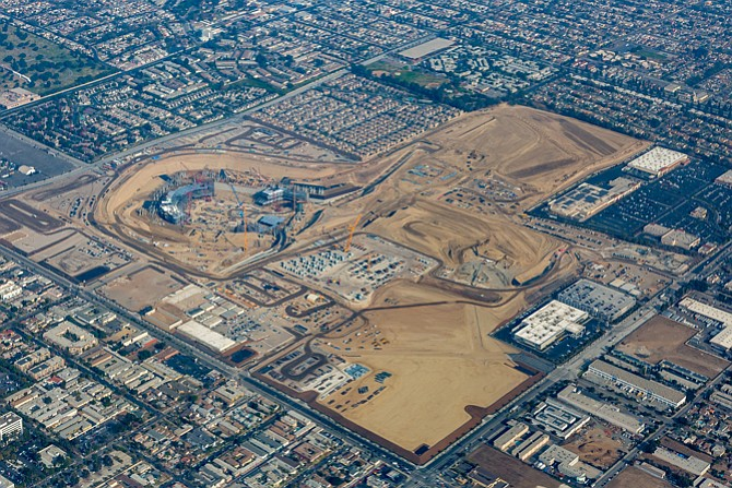 Hollywood Park under construction.