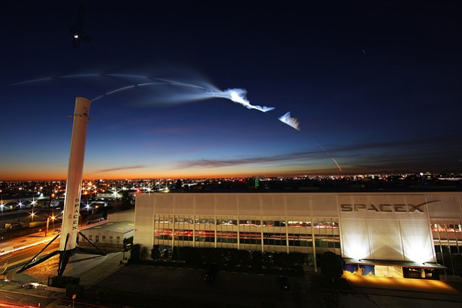 Rocket trail from SpaceX launch at Vandenberg Air Force Base.