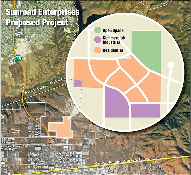 Map shows the site of the project proposed by Sunroad Enterprises. Map courtesy of Sunroad Enterprises