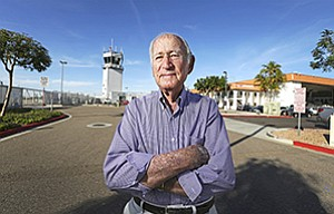 If Ted Vallas has his way, he will serve Carlsbad air travelers again, just as he did in the 1980s. Vallas, the  majority owner of California Pacific Airlines, will turn 97 in March. At left is Vallas and a fellow sailor in the 1940s.