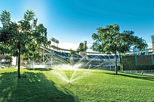 Hunter Industries' sprinklers irrigate Petco Park in downtown San Diego. Hunter makes water-wise equipment — much of it high-tech.  Photo courtesy of Hunter Industries