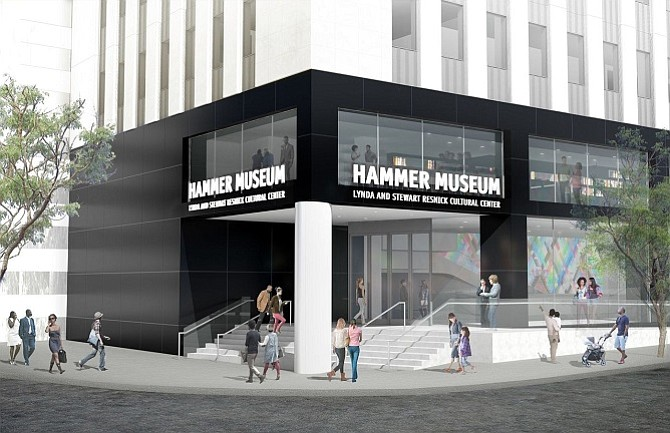 Michael Maltzan Architecture rendering of the proposed Hammer's new entrance at Wilshire and Westwood