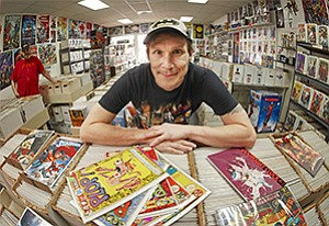 Bobby Bellman, owner of the San Diego Comics retail shop on El Cajon Boulevard, presides over a business that blends fantasy with commerce.