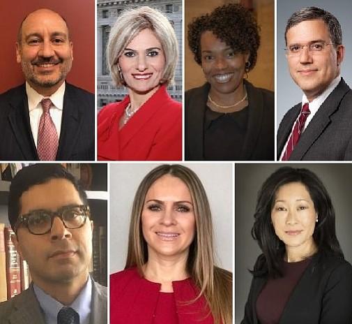 Top row: Michael R. Amerian, Armenui A. Ashvanian, Kimberley Baker Guillemet, Joseph M. Lipner Bottom row: Ashfaq (Ron) Chowdhury, Danette J. Gómez, Audra M. Mori
