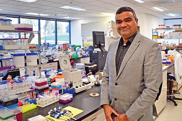 Suresh Chintalapati, Triangulum Biopharma's president and chief business officer, in the company's Carlsbad office. It specializes in designing and analyzing preclinical rodent testing, specifically in liver and metabolic drug candidates.