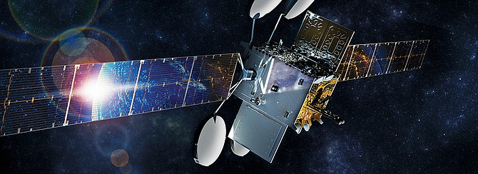 Viasat is now selling residential broadband internet service on its Viasat-2 satellite. Rendering courtesy of Viasat Inc.