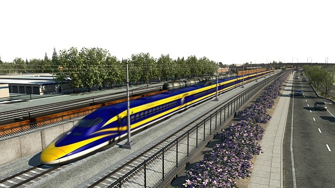 Rendering of California's high-speed rail project
