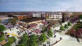 Ehrlich Yanai Rhee Chaney Architects' rendering of Amazon's planned Amazon Studios office at the Culver Steps in Culver City