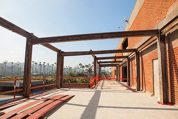 Steel and aluminum is used throughout buildings, from girders to window frames to bathroom stalls and fixtures, as in Ampersand, the renovated former Mission Valley campus of The San Diego Union-Tribune.