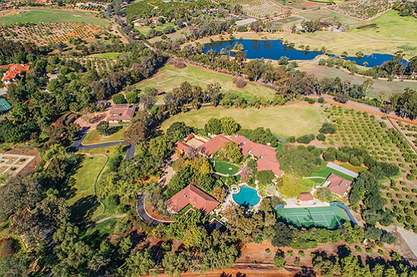 An aerial shot of 6025 El Montevideo in Rancho Santa Fe, a 15.65-acre equestrian estate. Photo courtesy of Willis Allen Real Estate