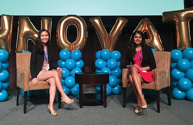Kristine Khieu and Surabhi Kalyan, bioengineering students and co-founders of SoleMate, won first place at the Ignite Conference pitch competition. Photo by Nick Trejo