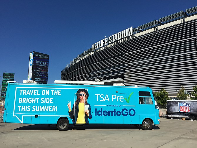 IdentoGO Mobile RV parked outside Metlife Stadium. Photo courtesy of IdentoGO.