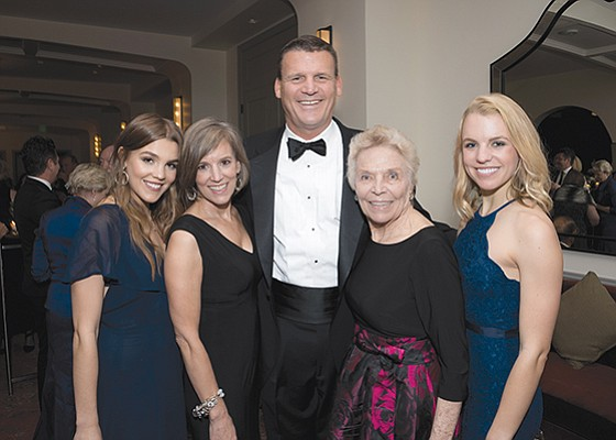 Scripps Mercy Hospital board chair, Jim Frager, center, and family, from left, Lauren Frager, Devon Frager, Val Frager and Jillian Frager at the annual Mercy Ball fundraiser. Photo courtesy of Scripps Mercy Hospital