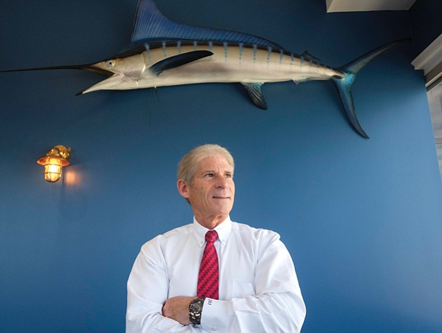 """Open Water: Freedman in Intrepid's """"Yacht Club,"""" where he holds weekly talks with the firm's younger staff."""