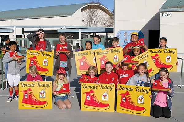 Elementary school students at Shoal Creek Elementary raised money for San Diego's Ronald McDonald House's Red Shoe Crew program. Photo courtesy of Ronald McDonald House Charities of San Diego