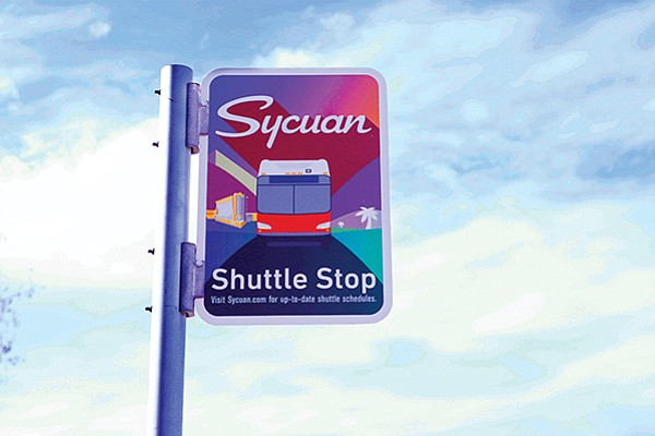 Sycuan shuttle stop signage. Photo courtesy of Sycuan Casino