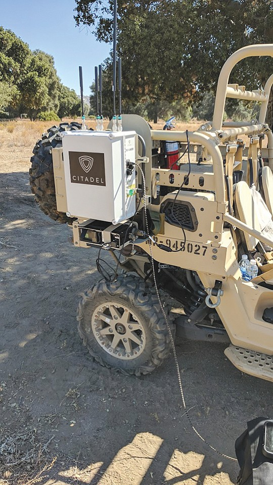 A Citadel Defense counter drone system is attached to a military vehicle. The military and the federal government are the company's biggest clients to date. Photo courtesy Citadel Defense