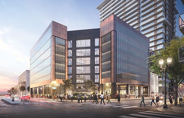 Rendering shows the exterior of the renovated former U.S. Bank building. Rendering courtesy of Cushman & Wakefield