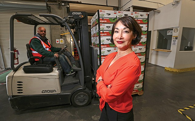 Mayra Velazquez de Leόn, president and CEO of Organics Unlimited, in the company's warehouse in San Diego. The company is a wholesaler of organic bananas, plantains and coconuts.
