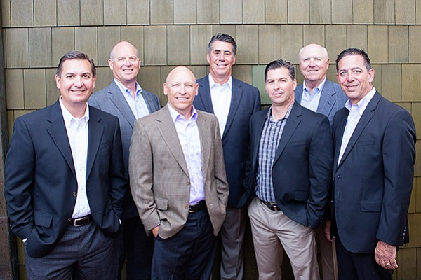 The seven partners of San Diego's Retirement Benefits Group, from left: Sean Ciemiewicz, Darrell Alford, Larry Deatherage, Mike Castner, Tony Franchimone, Dave Utter and Gary Josephs. Photo courtesy Retirement Benefits Group