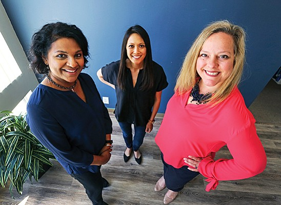 From left: Entrepreneurs and investors Vidya Dinamani, Allison Long Pettine and Silvia Mah founded Ad Astra earlier this year with the goal of increasing the number of women founders. Three startups are enrolled in its inaugural accelerator program.
