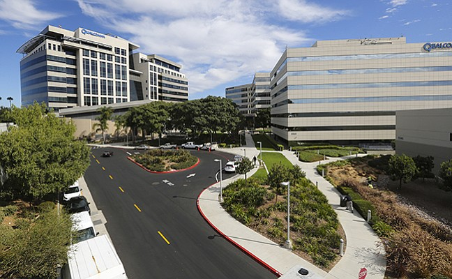 The Qualcomm corporate headquarters are at 5775 Morehouse Drive in Sorrento Valley.