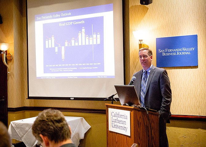 Matthew Fienup, executive director of California Lutheran University's Center for Economic Research and Forecasting, delivers the San Fernando Valley Economic Forecast.