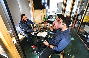 A team of entrepreneurs holds a meeting in the coworking area at Estación Federal in Tijuana, Mexico. The complex, which is a short  walk from the PedWest pedestrian border crossing, is popular among entrepreneurs from San Diego as well as from Tijuana.