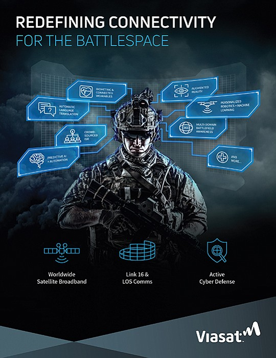 Viasat is helping connect troops to Big Data information to help reach their military goals while on the battlefield. Illustration courtesy Viasat Inc.