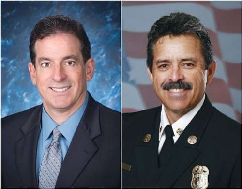 L-R: MARC ECKSTEIN-Commander of the LAFD Emergency Medical Services (EMS) Bureau, RALPH TARRAZAS-Fire Chief of the LA Fire Department