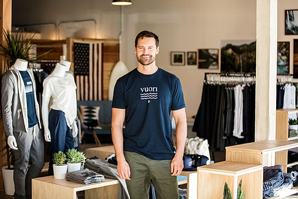 Joe Kudla, founder of Vuori, which launched in 2015, at his flagship store in Encinitas. Vuori is set to open two more stores in California. Photo courtesy of Vuori