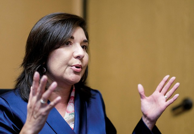 Historic Moment: Maria Salinas takes the reins at the region's largest chamber.