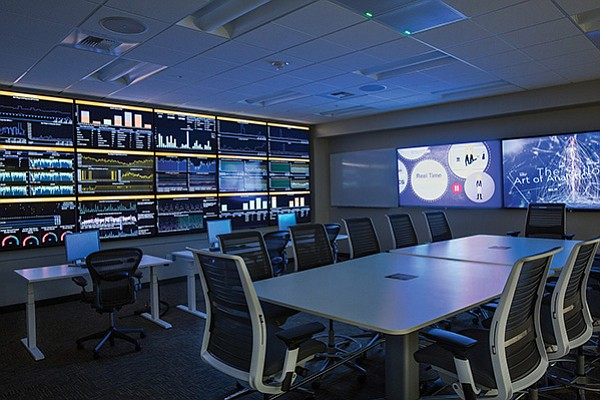 Teradata's Rancho Bernardo campus features a room called 'Pulse' which provides a real-time look at data on the company's operations, from the use of space in its physical buildings to the hours its employees are working. Photo courtesy of Teradata